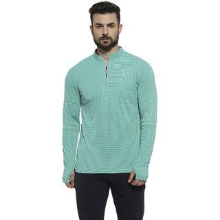 Campus Sutra Striped Men Mandarin Collar Light Green Sports T-Shirt