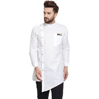 Trendy Trotters Men Long Cotton Solid Kurta - White