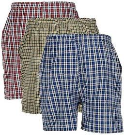 Vixeen Men's Cotton Checked Shorts Multicolor Check's Boxer Shorts 3 Pcs Combo