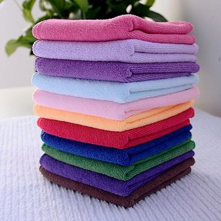 Zeeko Multicolor Cotton Solid 150 Gsm Face Towels Set Of 12