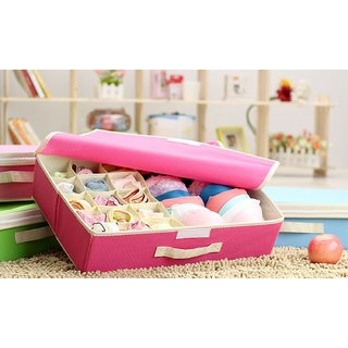 House Of Quirk Innerwear Organizer 15+1 Compartment Non-Smell Non Woven Foldable Fabric Storage Box For Closet (Pink)