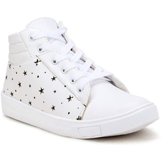 Clymb 7607 White Casual Sneakers For Women's
