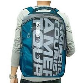 American Tourister Blue And Gray Polyester Laptop Bag Backpacks