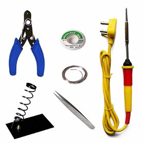 Pronto India 25W Soldering Iron Kit Soldering Wire Soldering Flux Wire Cutter Stand Wick 25 W Simple (Flat Tip)
