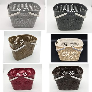 Evershine Plastic Multi Purpose Small Storage Pretty Basket With Handle For Carry Fruits, Vegatables Etc (Multicolor)