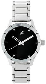Fastrack Black Round Dial Silver Metal Starp Watch For Men (6078Sm06)
