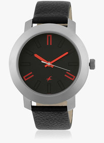 Fastrack Black Round Dial Leather Strap Watch For Men (3120Sl02)
