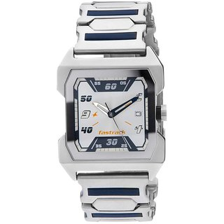 Fastrack Analog Quartz Silver Dial Rectangle Stainless Steel Strap Casual Watch for Men