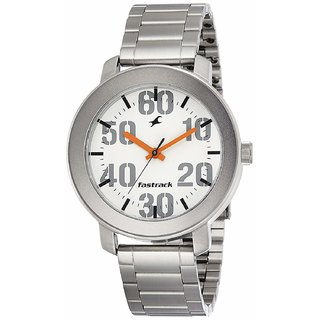 Fastrack 3121Sm01 White Round Dial Silver Stainless Steel Strap Casual Analog Watch For Men