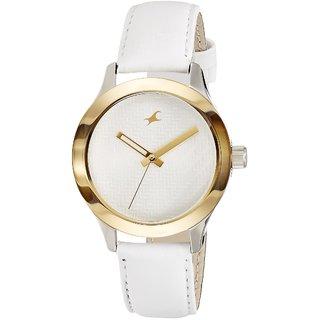 Fastrack Round White Leather Women 6078Sl02 Stylish Watch