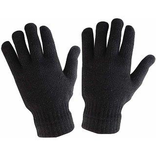 Men Women Winter Woolen Driving Gloves (Black, Free Size)