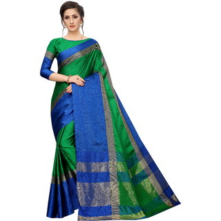 Aurima Womens Cotton Silk Designer Saree With Solid Zari Border Saree