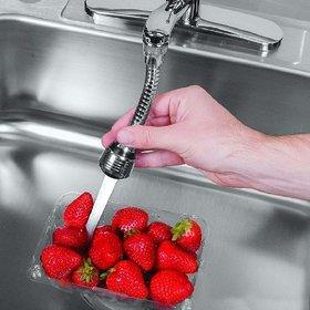 Evershine 360 Sink Faucet Extension Part Sprayer Jet Stream Or Spray (6-Inch, Silver)