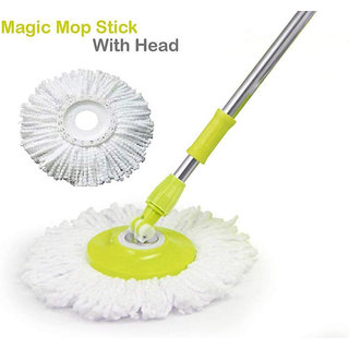 Stainless Steel Mop Rod Stick With 2 Refill 360 Degree Rotating Pole
