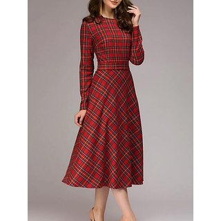 Rimsha Wear Women's Wear Check Winter Dress