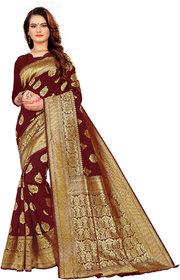 Aadyaa Creation Disigner Banarasi Art Silk Saree With Blouse( Maroon)