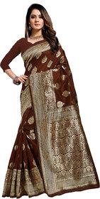 Aadyaa Creation Banarasi Cottan Silk Saree With Blouse (Brown)
