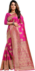 Aadyaa Creation Banarasi Art Silk Saree With Blouse (Black)