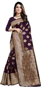 Aadyaa Creation Designer Banarasi Cottan Silk Saree With Blouse (Purple)