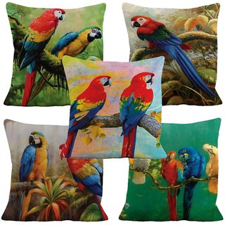 Home Green Parrot Printed Jute Cushion Cover Pack Of 5
