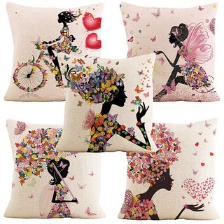 Home Green Fairies Printed Jute Cushion Cover Pack Of 5