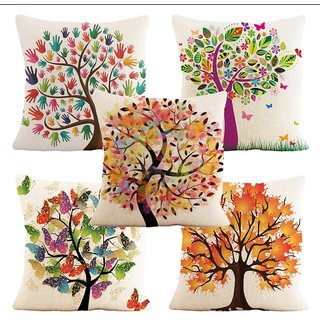 Home Green Coloured Tree Printed Jute Cushion Cover Pack Of 5
