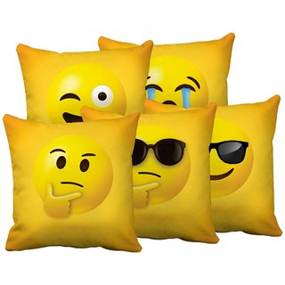 Home Green Emoji Printed Jute Cushion Cover Pack Of 5