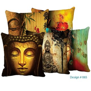 Home Green Budhha Printed Jute Cushion Cover Pack Of 5