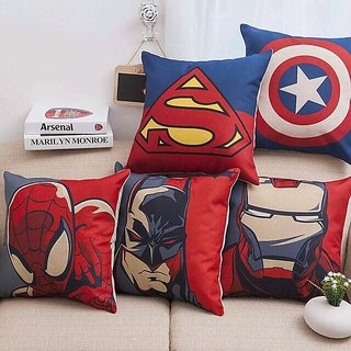 Home Green Spiderman Printed Jute Cushion Cover Pack Of 5