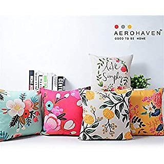 Home Green Flowers Printed Jute Cushion Cover Pack Of 5