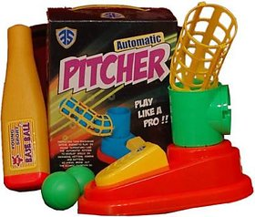 Shribossji Unbreakable Automatic Pitcher Game With 1 Bat, 3 Balls, Pitcher For Kids (Multicolor)