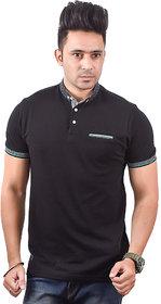 Antloop Black Printed Ban Collar Tshrt