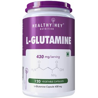 Healthyhey L-Glutamine Capsules High Strength- 430Mg - 120 Capsules