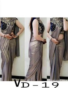 Mastani Designer Satin Silk Sari With Embroidred Velvet Blouse