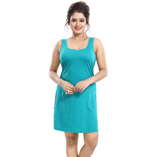 Be You Turquoise Cotton Hoisery Solid Long Camisole / Suit Slip For Women