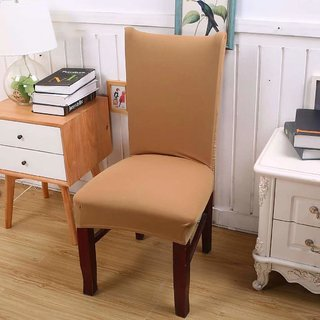 House Of Quirk Elastic Chair Cover Stretch Removable Protector Seat Slipcover - Beige