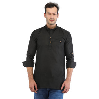 Trendy Trotters Men Short Straight Cotton Blend Kurta (Black)