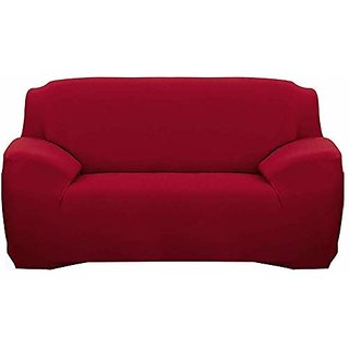 House Of Quirk Sofa Slipcover Elasticity Cover For Couch Flexible Stretch (Wine, Triple Seater)