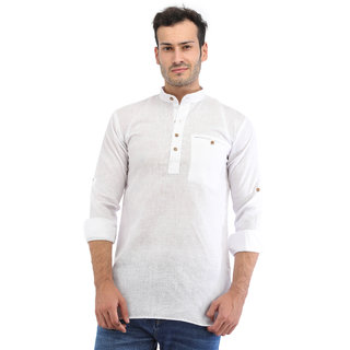 Trendy Trotters Men Short Straight Cotton Blend Kurta (White)