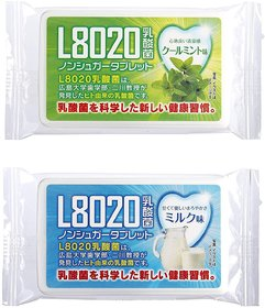 Doshisha L8020 Anti Bacteria Dental Care Tablets, Mint and Milk Flavor, Made in Japan, Set of 2, 9gms Each