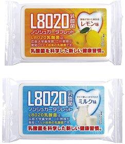 Doshisha L8020 Anti Bacteria Dental Care Tablets, Lemon and Milk Flavor, Made in Japan, Set of 2, 9gms Each