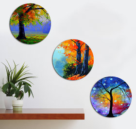 Kartik Modern Art Tree Printed Round Wall Painting For Living Room With Wooden Frame And Without Glass - Set Of 3