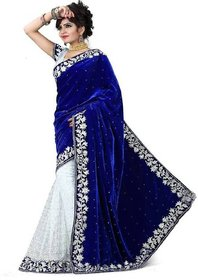 Today Deal Blue And White Velvet And Brasso Embroidered Saree With Blouse For Women