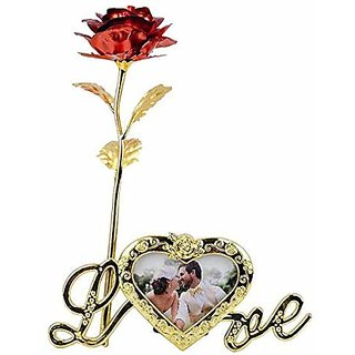 Regal All New Imported Gift Item 24K Artificial Red Rose With Love Photo Frame And Carry