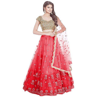 V-KARAN Red Net Embroidered Semi Stitched Lehenga Choli