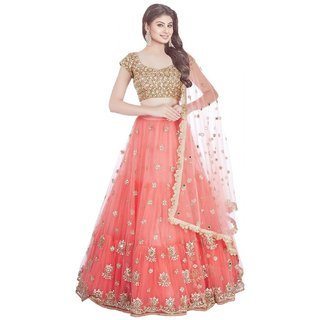 Peach Net Golden Embroidered Semi Stitched Lehenga Choli by V-Karan