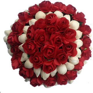 Maahal Red Flower Gajra Hair Accessories For Bun Styling For Women And Girls (White  Red)