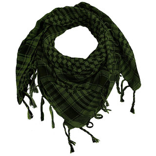 Jakqo Unisex Military Shemagh Arafat Scarf (40W x 40L, Green)