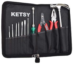 Ketsy 311 Hand Tool Kit 12 Pcs. (8 Pcs Screwdriver 1 Claw Hammer Steel Shaft  Lb 1 Combination Plier 8 1 Wire Cutte