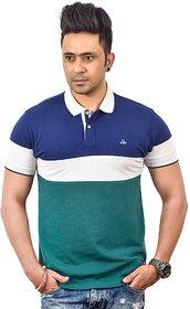 Antiloop Blue Green Color Block Designer Polo Tshrt